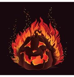 Halloween pumpkin in flames vector image