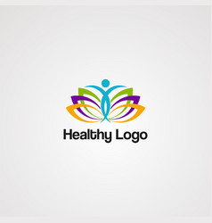 healthy logo icon element template for company vector image