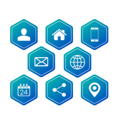 hexagon contact communication icons for business vector image