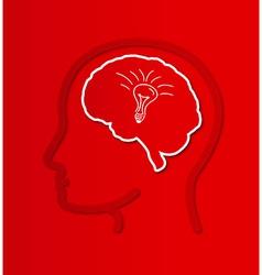 Human brain in head with bulb vector