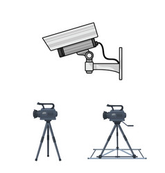 Isolated object of camcorder and camera symbol vector