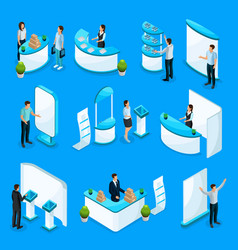 isometric promotional stands collection vector image