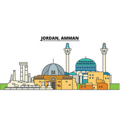 jordan amman city skyline architecture vector image