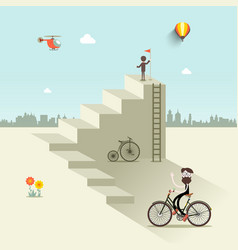 man up stairs with flag one with bicycle and vector image