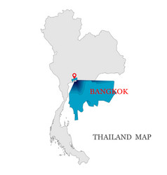 Maps of thailand with red maps pin on blue color vector