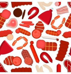 Meat and sausages seamless pattern vector image
