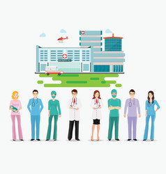 medical staff standing in front of hospital vector image