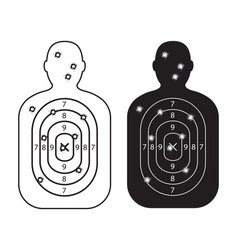 men paper targets with bullet holes vector image