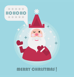 merry christmas holiday card with cute santa vector image