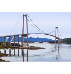Modern suspension bridge vector