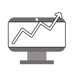 monitor computer with stastistics vector image
