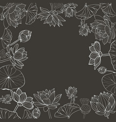 monochromehand drawn floral frame vector image