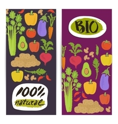 Natural vegetable vertical flyers set vector image