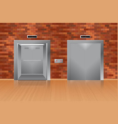 Opened and closed elevator in brick wall vector