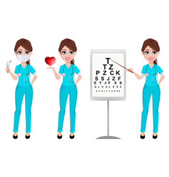 Ophthalmologist woman medicine concept vector