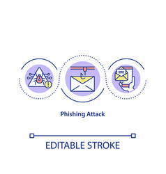 Phishing attack concept icon vector