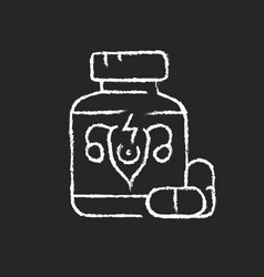 pills for period cramps chalk white icon on dark vector image