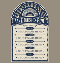 Poster for pub with live music vector