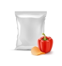 Potato Ripple Chips with Paprika and Foil Bag vector