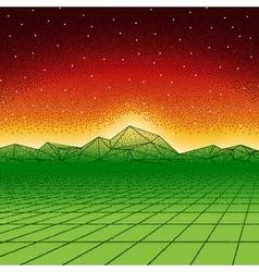 Retro hipster dotwork landscape with triangular vector