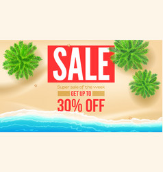 sale get up to 30 percent discount seashore with vector image