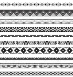 Seamless pattern borders tribal set vector