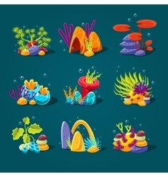 Set cartoon algae elements for aquarium vector