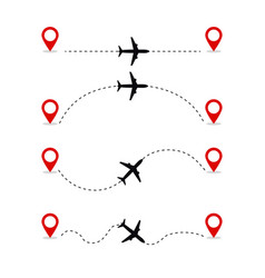 set icons airplanes flight route vector image