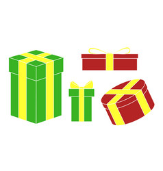 set of colored holiday christmas gifts vector image