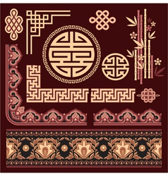 set oriental pattern elements vector image