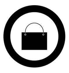 shopping bag icon black color in circle vector image