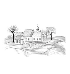 Sketch of house architecture country side skyline vector