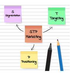 Stp marketing diagram - sticky notes vector