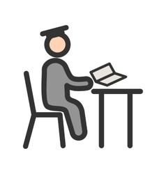 Studying on desk i vector