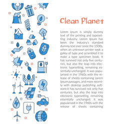 template for clean planet with text and icons vector image