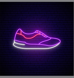 Trainers neon sign stylish footwear design vector