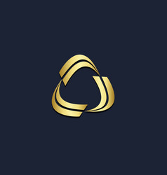 triangle circle curve geometry gold logo vector image