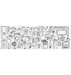 Various household appliances doodle set vector