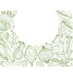 Vegetables hand-drawn background with nature vector