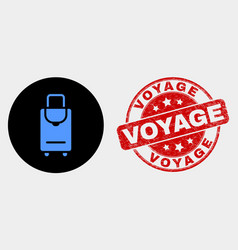 voyage luggage icon and distress voyage vector image