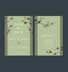 Wedding invitation watercolour design with forest vector