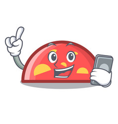 with phone semicircle character cartoon style vector image