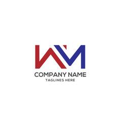 wm letter logo design template vector image