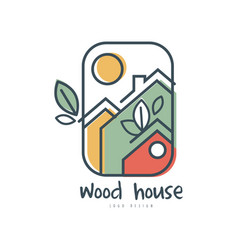 Wood house logo design ecologic home sign vector