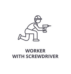 worker with screwdriver line icon sign vector image