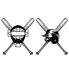 baseball mask helmet and crossed bat vector image