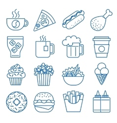 Fast food Set of line icons vector image