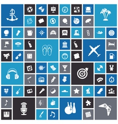 Flat design icons for travel leisure and music vector image vector image