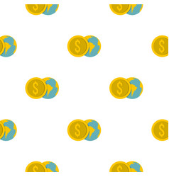 globe and dollar coin pattern flat vector image vector image