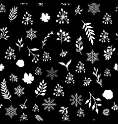 seamless vintage winter pattern with hand drawn vector image